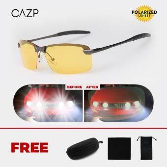 CAZP แว่นตาขับรถตอนกลางคืน ทรงสี่เหลี่ยมผืนผ้า Polarized สำหรับขับรถตอนกลางคืน ตัดแสงหน้ารถ ป้องกันการเกิดอุบัติเหตุ กรอบเงิน/เลนส์เหลือง (Black/Yellow Night Vision) 66mm