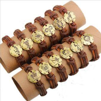 CE 12 Set Of 12 Constellations Antique Copper Real Leather Bracelet Personalized Jewelry Constellation Retro Bracelet Brace Leather Necklace Couple Bracelet Men's Bracelet Punk Bracelet Red - intl