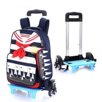 Children Girls Boys School Backpack Three Wheel Trolley LuggageTravel Bag Kids Sailor Co ...