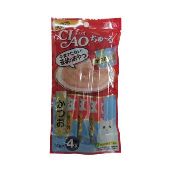 CIAO ขนมแมวเลีย เชาชูหรุ ชนิดซอง รสปลาทูน่าคัตสึโอะ ขนาด 4 x 14g