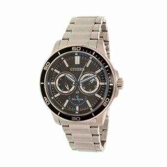 ราคา CITIZEN นาฬิกาข้อมือผู้ชาย สแตนเลสแท้ รุ่น BU2040-56E (สีเงิน/หน้าปัดดำ)