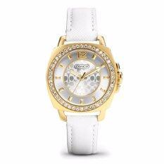 Coach Mini Boyfriend White Leather Strap Crystal Glitz Womens Watch 14501790
