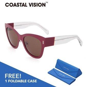 COASTAL VISION แว่นกันแดดโพลาไรซ์สำหรับผู้หญิง ทรงกรอบใหญ่สีแดงเลนส์ป้องกันรังสี UVA/B CVS5027