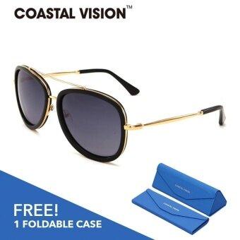 COASTAL VISION แว่นกันแดดโพลาไรซ์สำหรับผู้หญิง กรอบทรงนักบินสีดำเลนส์ป้องกันรังสี UVA/B CVS5037