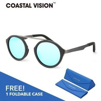 COASTAL VISION แว่นกันแดดสำหรับผู้หญิง กรอบทรงกลมสีดำเลนส์ปรอทป้องกันรังสี UVA/B CVS5051