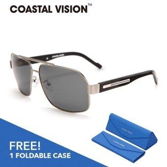 COASTAL VISION แว่นกันแดดโพลาไรซ์สำหรับผู้หญิง กรอบทรงนักบินสีเงินเลนส์ป้องกันรังสี UVA/B CVS5109
