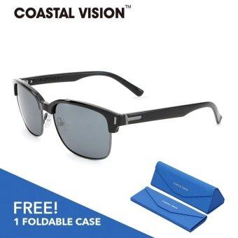 COASTAL VISION แว่นกันแดดโพลาไรซ์สำหรับผู้หญิง กรอบทรงครึ่งเฟรมสีดำเลนส์ปรอทป้องกันรังสี UVA/B CVS5208
