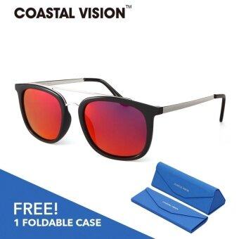 COASTAL VISION แว่นกันแดดโพลาไรซ์สำหรับผู้ชายกรอบทรงสี่เหลี่ยมจัตุรัสสีเทา เลนส์ป้องกันรังสี UVA/B CVS5808