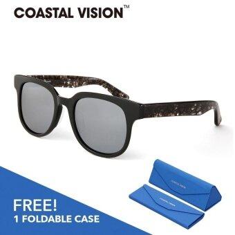 COASTAL VISION แว่นกันแดดโพลาไรซ์สำหรับผู้หญิงกรอบทรงสี่เหลี่ยมจัตุรัสสีดำ เลนส์ป้องกันรังสี UVA/B CVS5820