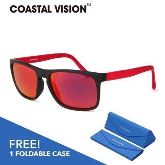 COASTAL VISION แว่นกันแดดโพลาไรซ์สำหรับชายและหญิง กรอบทรงสี่เหลี่ยมผืนผ้าสีแดง เลนส์ป้องกันรังสี UVA/B CVS5824