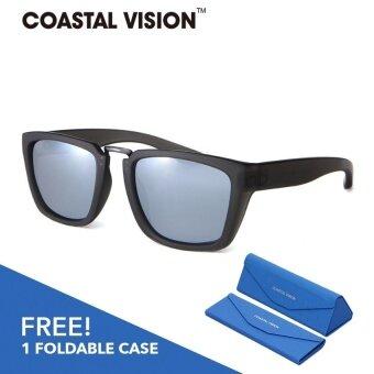COASTAL VISION แว่นกันแดดโพลาไรซ์สำหรับผู้หญิงกรอบทรงสี่เหลี่ยมผืนผ้าสีดำด้าน เลนส์ป้องกันรังสี UVA/B CVS5825