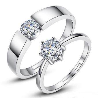 Couple Rings Jewellry 925 Silver Adjustable Lovers Ring Jewelry E013 - intl