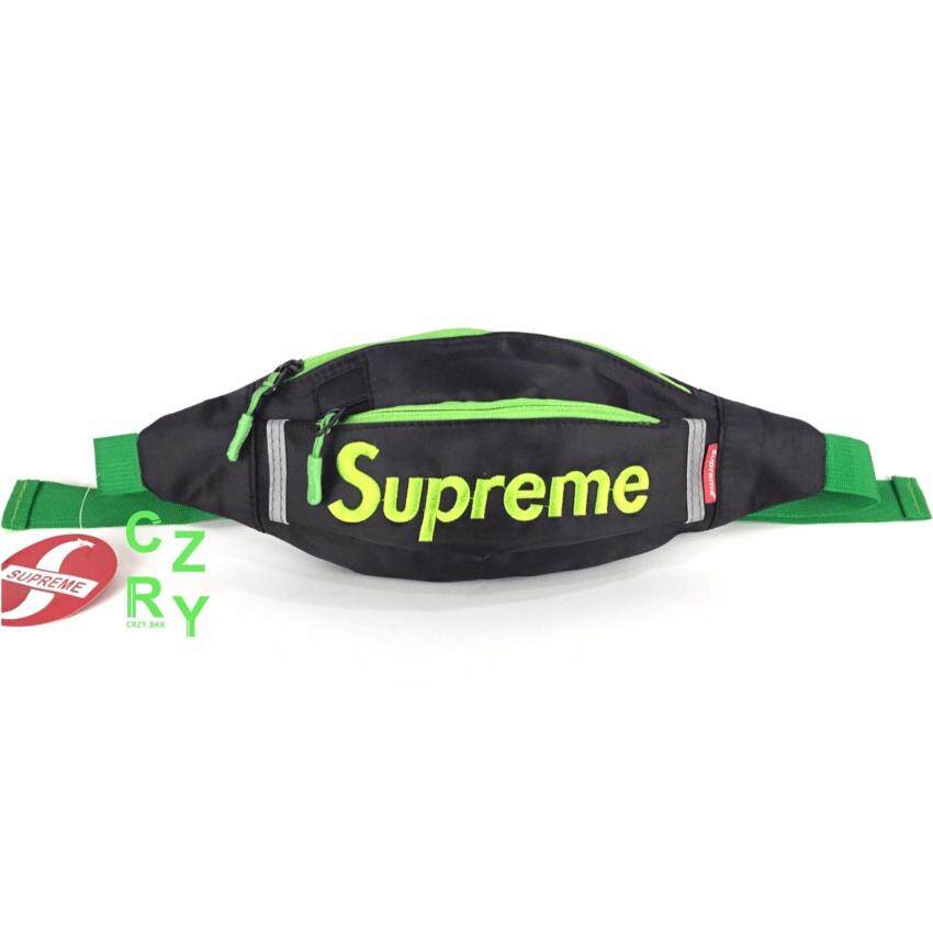 CRZY.BKK กระเป๋าคาดอก คาดเอว Supreme UNISEX สุดคูล สะพายได้ 4 แบบ รุ่น A019 สี BLACK/ORANGE (มีหลายสีให้เลือก)