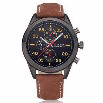 2561 CURREN นาฬิกาข้อมือผู้ชาย แท้ 3 ปุ่มเรือนดำ สายหนัง (สีน้ำตาล)