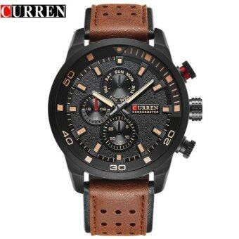 CURREN 8250 Men's Waterproof Watch Casual Three Eye Watch LeatherRound Quartz Watch - Brown Black Orange