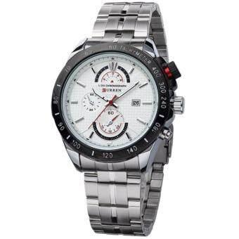 ราคา Curren นาฬิกาข้อมือสุภาพบุรุษ สีเงิน/ขาว สายสแตนเลส รุ่น C8148