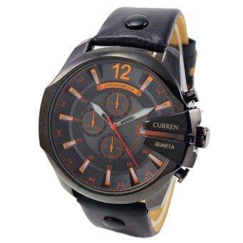 ประเทศไทย Curren นาฬิกาข้อมือผู้ชาย หน้าปัดสีดำ สายหนังสีดำ รุ่น C8176