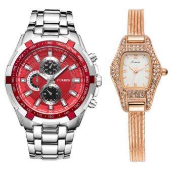 ซื้อ/ขาย Curren + KIMIO นาฬิกาข้อมือสุภาพบุรุษ สายสแตนเลส Red รุ่น C8023 คู่ Kimio นาฬิกาข้อมือผู้หญิง สายสแตนเลส Rose/Gold รุ่น KW539 (Combo Set สุดคุ้ม)