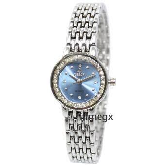 2561 DEBOR นาฬิกาสร้อยข้อมือหน้าปัดกลมสีฟ้า สายสแตนเลสสีเงิน