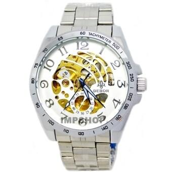 2561 DEBOR นาฬิกาข้อมือชาย AUTO หน้าปัดขาวเงินฉลุลายเส้น เลขอารบิค สายสแตนเลส (สีขาว)