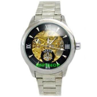 ประเทศไทย DEBOR นาฬิกาข้อมือชาย AUTOMATIC เลขโรมัน เรือนเงิน สายเหล็ก (สีดำ)