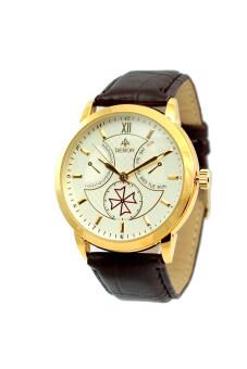 DEBOR นาฬิกาข้อมือผู้ชาย สีน้ำตาล สายหนัง รุ่น สายหนังสีน้ำตาล-White