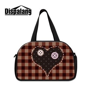 Dispalang Fashion Travel Bags Plaid Pattern Large Capacity Women Luggage Duffle Bag Heart-shaped Tote Waterproof Travel Handbags - intl
