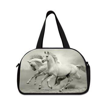 Dispalang Horse Printing Women Men Weekend Luggage Bag Large Capacity Travel Duffle Bag with Independent Shoe Shoulder Bag - intl