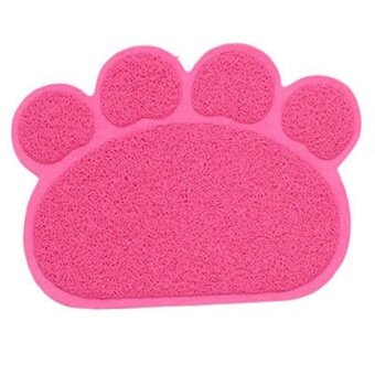 Harga Dog Cat Paw Shape Dish Bowl Feeding Food Placemat PVC Door Mat forPet Color:Pink Specification:40cm*30cm - intl