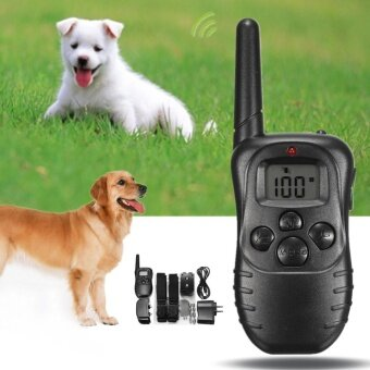 Electric Dog STOP Barking Anti Bark เครื่องส่งสัญญาณ LCD 2 COLLAR ระยะไกลชุด