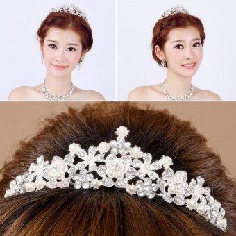 Elegant Luxurious Rhinestone Pearl Earring Necklace Crown Set Wedding - intl - 2 .