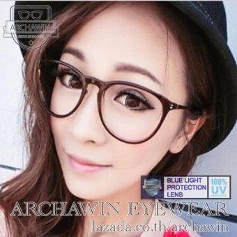 แว่นตากรองแสง แว่นกรองแสง กรอบแว่นตา ทรง Erika Style รุ่น OKUKAWA 02 - Black (กรองแสงคอม กรองแสงมือถือ ถนอมสายตา)