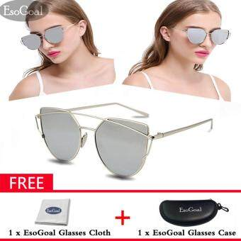 ราคา EsoGoal Fashion Women Sunglasses Sunscreen Anti-UV Color Film Sunglasses , Sliver – intl