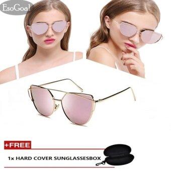 EsoGoal Fashion Women Sunglasses Sunscreen Anti-UV Color Film Vintage Eyewear Accessories Sunglasses , Gold