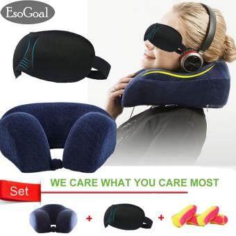 EsoGoal หมอนรองคอท่องเที่ยวหน่วยความจำโฟมหมอน-เครื่องบินหมอนรถยนต์รถบัสรถไฟ Nap WashableDurable พร้อมชุดฝาครอบถอดเปลี่ยนได้ 3D Sleep Mask