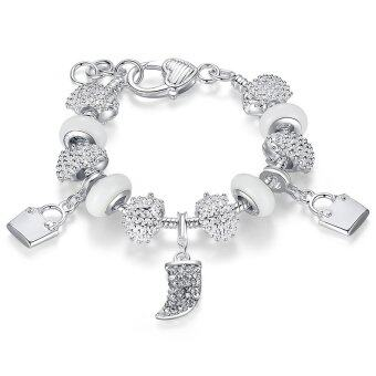 European Style 925 Silver Crystal Charmful Bracelets With WhiteMurano Glass Beads PA1336
