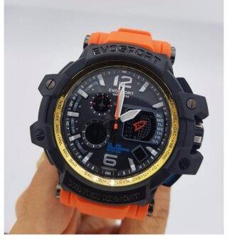 ประเทศไทย EVOSPORTนาฬิกาสปอร์ตกันน้ำ100 % กันกระแทก สายยาง สีส้ม สำหรับผู้ชื่นชอบการออกกำลังกาย กันน้ำได้ลึก 100 เมตร
