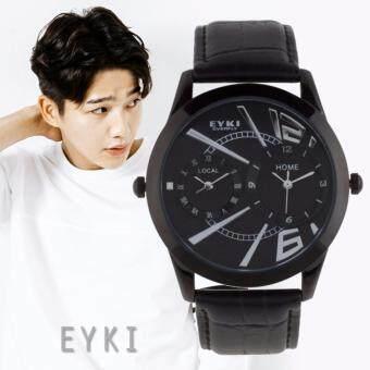EYKI นาฬิกาข้อมือผู้ชาย ตั้งและดูเวลาได้ 2 ประเทศ ดีไซน์สวย กันน้ำ สายหนังสีดำ รุ่น EY-8443 สีดำ (Black)