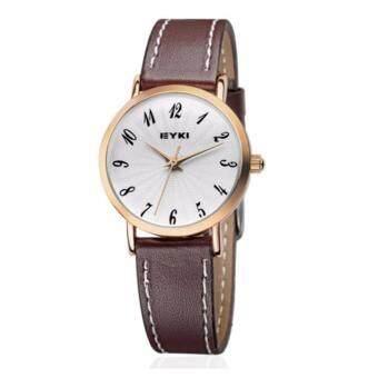 ซื้อ/ขาย EYKI นาฬิกาข้อมือสุภาพสตรี สายหนัง สีน้ำตาล/ทอง รุ่น E-8708