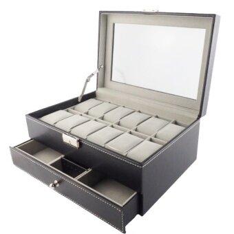 Fancybox กล่องนาฬิกาไม้บุหนัง 2 ชั้น สำหรับนาฬิกา 12 เรือน + ใส่เครื่องประดับ (Black)