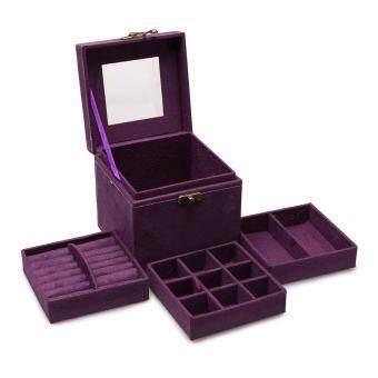Fancybox กล่องเครื่องประดับเอนกประสงค์ 3 ชั้น (Square Jewelry Box) สีม่วง