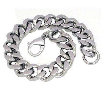 Fang Fang Fashion Men Punk Stainless Steel Chain Wristband Clasp Cuff Bangle Bracelet (Silver)