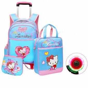 Fashion Backpack Trolley 2 Wheel 2-6 Primary School Blue - intl