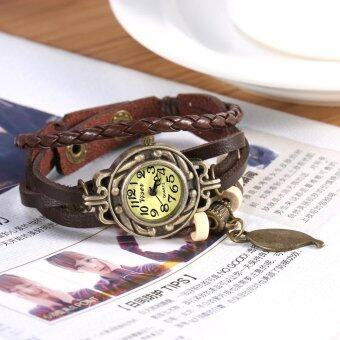 Fashion Ladies Bracelet Quartz Watch Weave Leaf Pendant StylishMulti-layer Wrist Watch (Brown) - intl