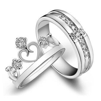 Fashion Lovers Rings Silver Adjustable Couple Ring Jewelry E002 - intl