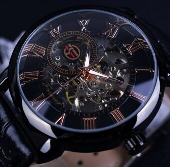 Forsining Black Bezel Red Roman Display Hollow Engraving Clock MenMontre Homme Top Brand Luxury Mechanical Watch