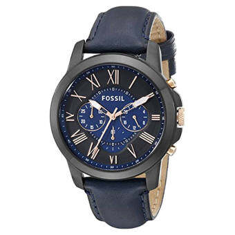 Fossil Men's FS5061 Grant Black Stainless Steel Watch with Blue Leather Band - intl
