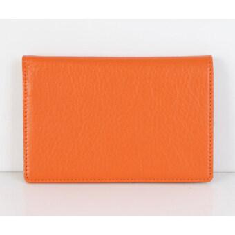 Fromb Genuine Cow Leather RFID Blocking No-Skimming Passport Organizer Holder (Orange)