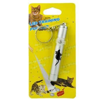 G2G เลเซอร์ไฟ LED รูปหนู ของเล่นสำหรับแมวและสุนัข เพื่อความสนุกสนาน สีเงิน จำนวน 1 ชิ้น