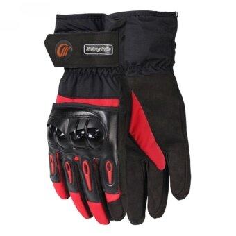 G2G ถุงมือข้อยาวใส่ขับรถมอเตอร์ไซค์กันน้ำได้ สำหรับชาวไบเกอร์ สีแดง Size L จำนวน 1 คู่